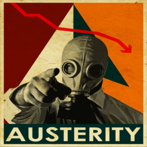 man wearing gas mask and pointing to austerity